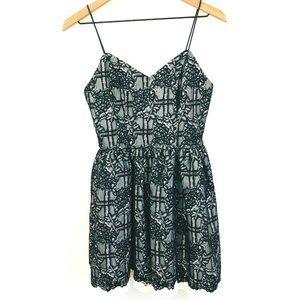 Love..Ady Black White Lace Mini Dress